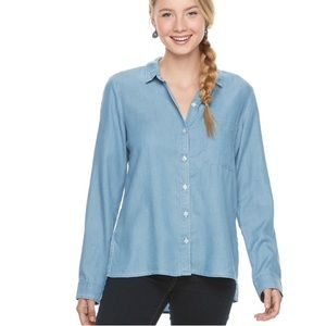 w/TAG High - Low Chambray SHIRT Button Down